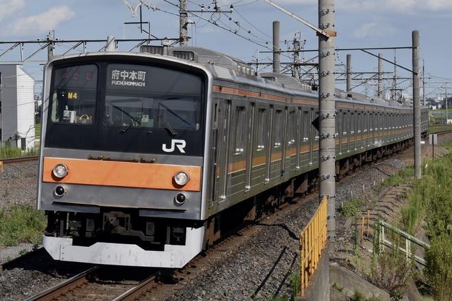 東所沢電車区205系M4編成を吉川駅で撮影した写真